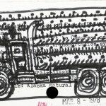 """Alaska Natural , drawing on library catalog card, 3"""" x 5"""", 2006"""