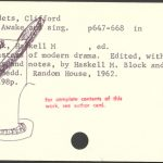 "Awake & Sing, drawing on library catalog card, 3"" x 5"", 2007"