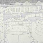 """Ca' Del Vento, pencil on paper, 15"""" x 20.5"""", 2017"""