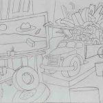 "Ca' Pesaro Dufy, pencil on paper, 15"" x 20.5"", 2017"