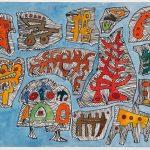 "Daemonds, mixed media drawing, 12"" x 16"" , 2009"