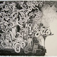 "Double Negative, lithograph, 22""x 30"", 2009"