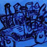 "Hell Bent, acrylic on canvas, 16"" x 20"", 2008"