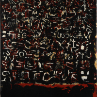 "Ramification, 2008, clay monotype on pelon, 44.5"" x 22.25"""