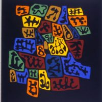 "Scopic Topic, acrylic on canvas, 52"" x 48"", 2002"