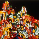 "Winter Plaza, acrylic on canvas, 30"" x 45"", 1999"