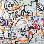 "Xit Treble Clef, mixed media on paper, 38 3/8"" x 50 3/8 "", 1996"