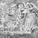 "Temperance, 2006, graphite on canvas, 40""x138"""