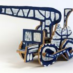 "Blue Motive, Woodblock prints on blocks of wood, 2011 21.5"" x 44"" x 15"", ed. 9"