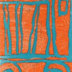 "Cab Over, woodblock print, 2013, 14"" x 11"""