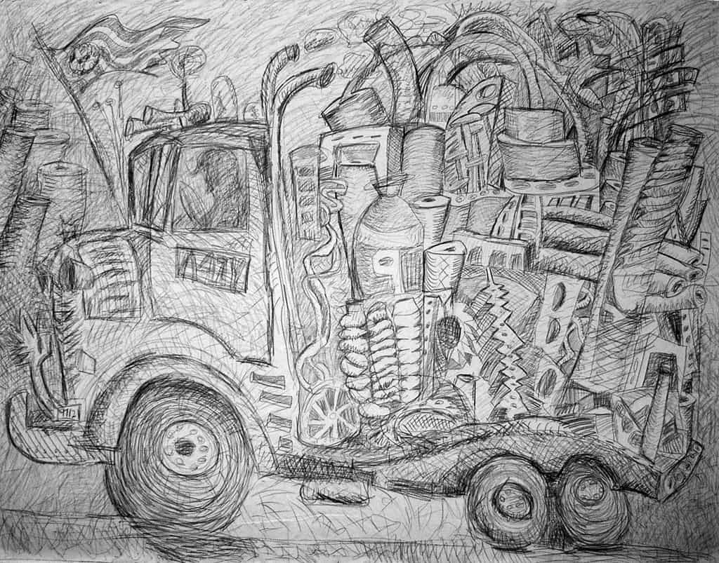 "Dedication, 2006, graphite on canvas, 71""x91"""