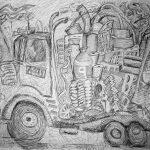 "Dedication, 2006, graphite on canvas, 71""x91"""