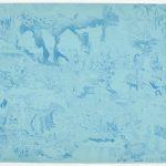 """Descent, 1971, litho line engraving w gumout, 16"""" x 20"""", ed. 50"""