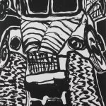 "The Ink Truck Is Here, 2015, woodcut on canvas, 60"" x 40"""