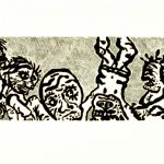 "Covert Activity, 1988, etching/intaglio, 11"" x 30"" ed. 20"