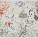 "GBOTX, drawing on paper, 20"" x 26.5"", 1996"