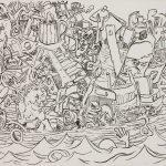 """Under Way, ink on paper, 22"""" x 30"""", 1981"""