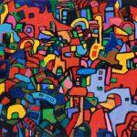 """Rainbow Park, acrylic on canvas, 48"""" x 72"""", 2003"""